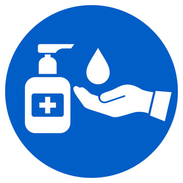 Hand sanitizing station vector icon, please sanitize your hands