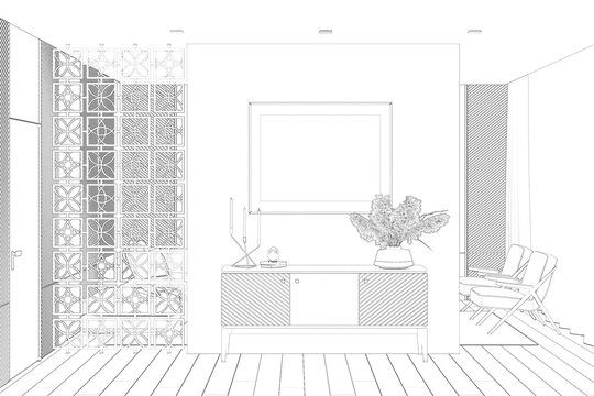 Sketch of the luxury apartment suite lounge room with a horizontal poster over a curbstone, a door, wall panels, a decorative partition, a sofa, armchairs, and curtains in the background. 3d render