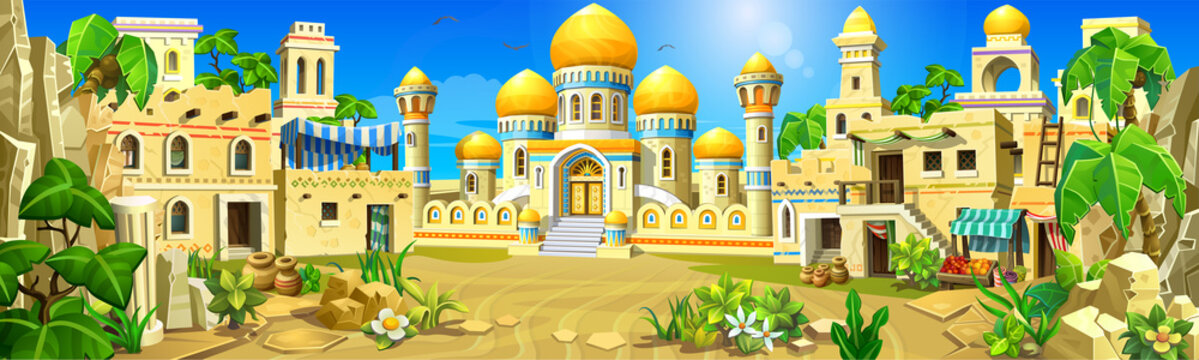 Arabian stone town in the desert. A palace with white walls, towers and golden domes, tents. Temples, mosques, houses with oriental decorations.
