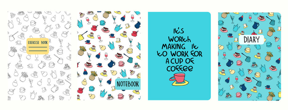Set of cover page templates with coffee cups, pots, cakes, pastry and funny phrase. Based on seamless patterns. Headers isolated and replaceable. Perfect for notebooks, notepads, diaries, etc
