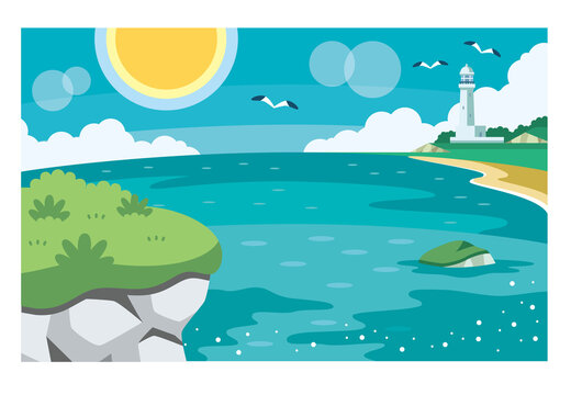 岩場の崖と海と太陽と灯台のイラスト素材