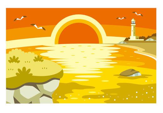 岩場の崖と海と夕日と灯台のイラスト素材