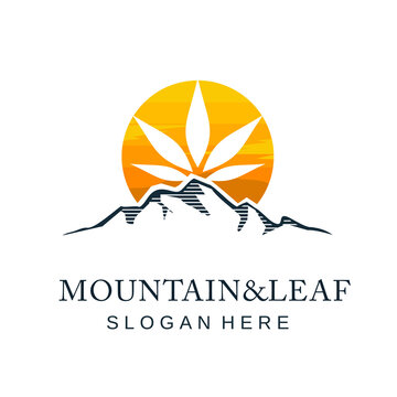 mountain and cannabis leaves logo with the sun behind it