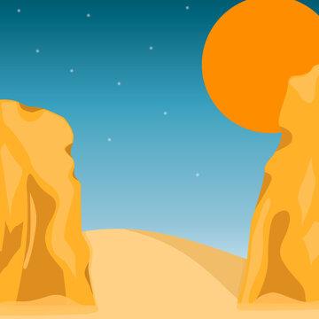 sunset on the desert with rocks