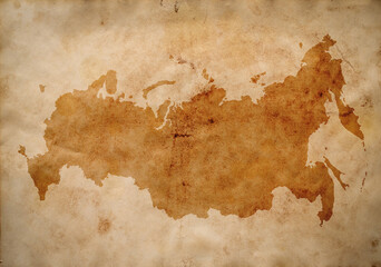 map of Russia on old grunge brown paper