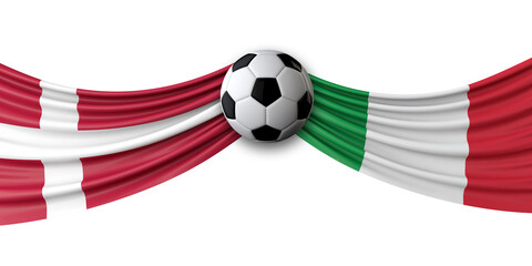 Denmark Vs. Italy soccer match. National flags with football. 3D Rendering