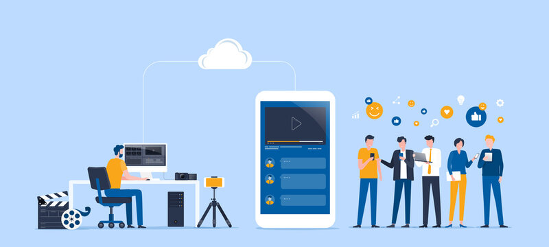 flat vector illustration video editor team working and making a video clip for online upload and share work on cloud with group people target on social network concept