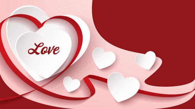 hearts love background. vector banner design