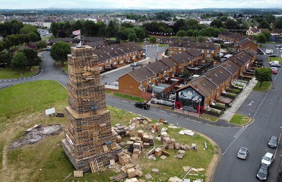 The Corcrain Redmanville Eleventh Night bonfire pyre in Portadown