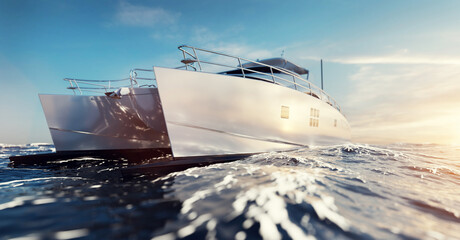 Fototapeta Catamaran motor yacht on the ocean obraz
