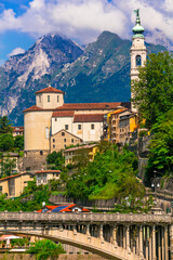 Travel in northern Italy - beautiful Belluno town surrounded by Dolomite mountains. Veneto region