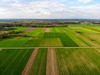 Wiejskie pola widziane z drona.