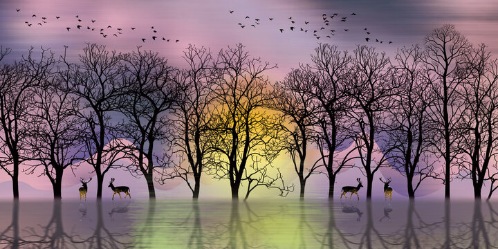 3d modern art mural landscape wallpaper with dark  Jungle , forest background . black christmas trees , moon with white birds and deer . Suitable for use as a frame on walls of home decor .