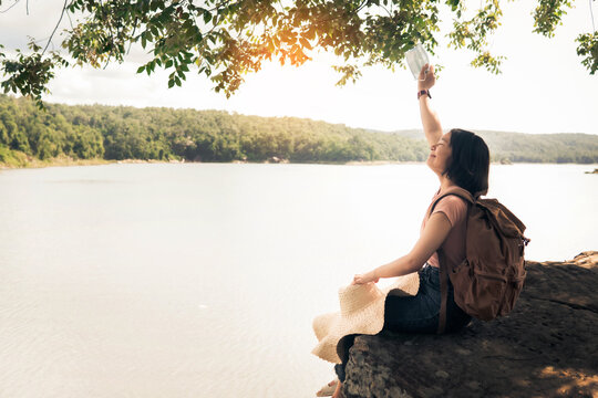 Relaxing woman travel after lockdown, Let 'go on holiday and live our lives.