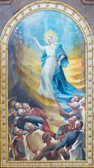 VIENNA, AUSTIRA - JUNI 24, 2021: The painting of Assumption of Virgin Mary in the church Kalvarienbergkirche by Hans Alexander Brunner (1962).