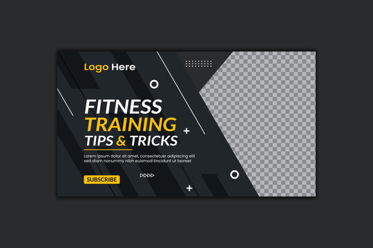Fitness Training Youtube Thumbnail Template Design and Web Banner