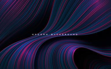 Obraz Dynamic dimension layers with blue and purple line background - fototapety do salonu