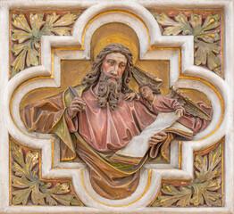 VIENNA, AUSTIRA - JUNI 24, 2021: The relief of St. Matthew the Evangelist in church St. Severin.