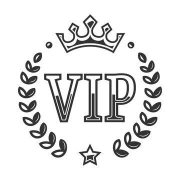 Vip vector label with a laurel wreath. VIP icon on a white background