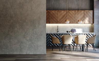 Fototapeta Blank wall mockup in loft interior background, industrial style ,3d render obraz