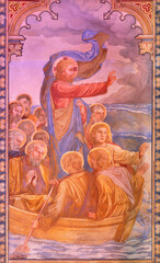 VIENNA, AUSTIRA - JUNI 24, 2021: The fresco of Jesus Calms the Storm in the Votivkirche church by brothers Carl and Franz Jobst (sc. half of 19. cent.).