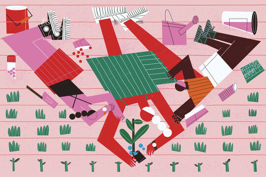 Rural woman and his children grow together homegrown plants in the orchard transmitting his passion for field and plants. Sustainable living and healthy family concept illustration.
