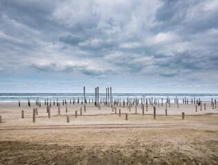 Palendorp op het strand van Petten