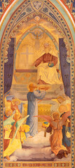 VIENNA, AUSTIRA - JUNI 24, 2021: The symbolic fresco of Jesus offer to God the Father in the Votivkirche church by brothers Carl and Franz Jobst (sc. half of 19. cent.).