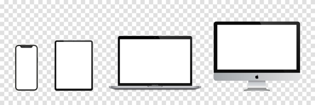 MAGELANG, INDONESIA - JULY 6, 2021: Set mockup computer, laptop, tablet, smartphone. Realistic isolated vector templates Apple devices. Vector illustration