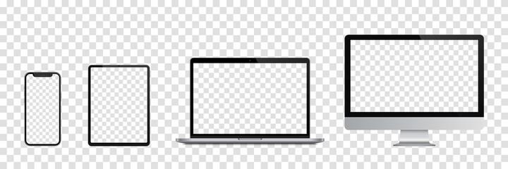 Obraz Realistic set of Monitor, laptop, tablet, smartphone. Vector illustration - fototapety do salonu