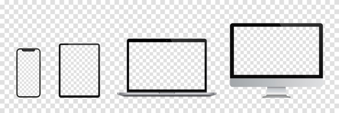 Realistic set of Monitor, laptop, tablet, smartphone. Vector illustration