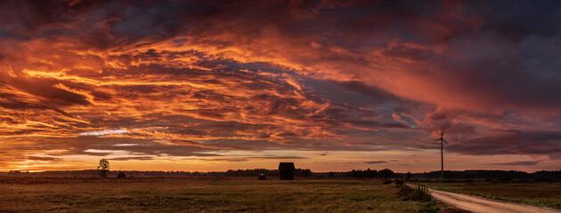 Beautiful landscape panorama at sunset, Poland