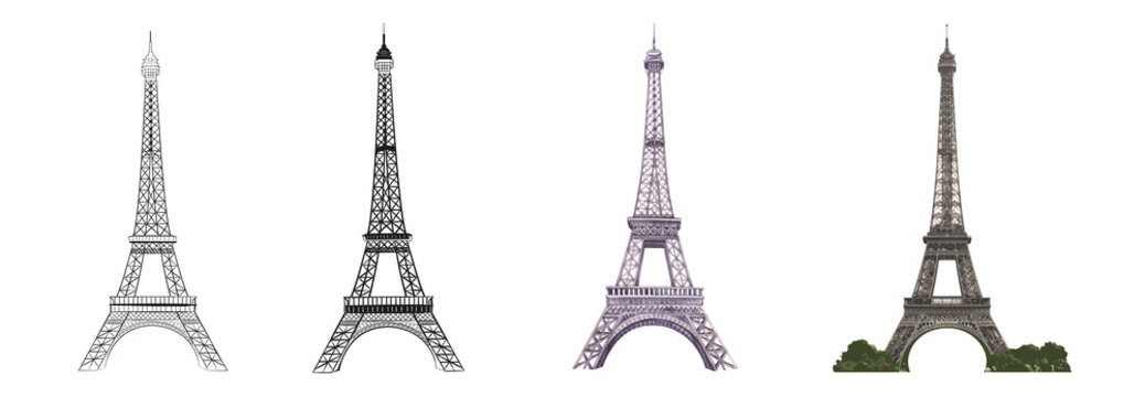 Set of differents Eiffel tower on white background. Watercolor, line art, outline illustration.