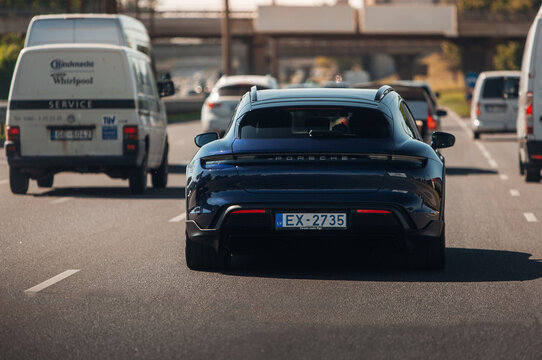 Porsche Taycan Cross Turismo at the city road