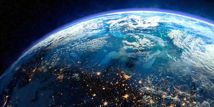Planet Earth with exaggerated precise relief and volumetric atmosphere. Day-night transition. Canada and the northeastern United States. 3D rendering. Elements of this image furnished by NASA