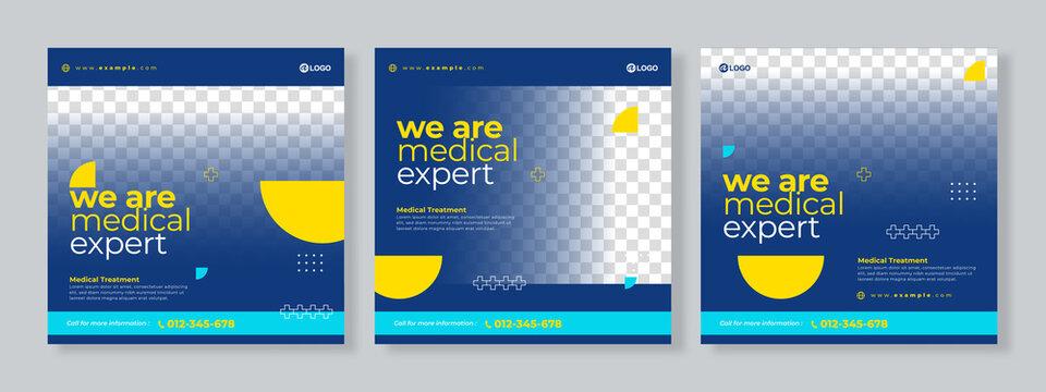 Set of three medical social media pack template premium vector
