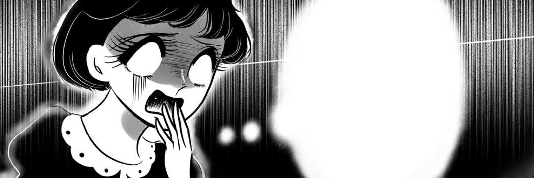 70年代少女漫画ショックを受けて絶叫する黒髪の女の子