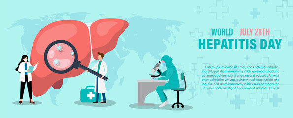 Obraz Concept of hepatitis A, B, C, D, and world hepatitis day campaign's poster with doctors treat the liver in flat style and banner vector design. - fototapety do salonu