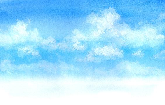 水彩絵の具で描いた空と雲