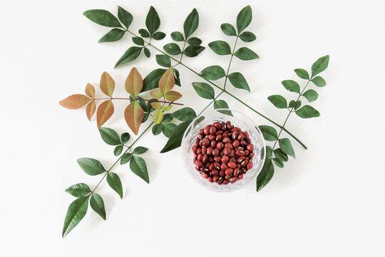 ガラスの器の小豆と南天の葉 -類似画像あり