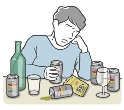 アルコール依存症の若い男性
