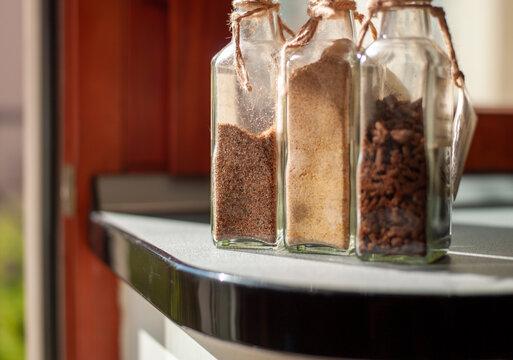 botlles with seasonings