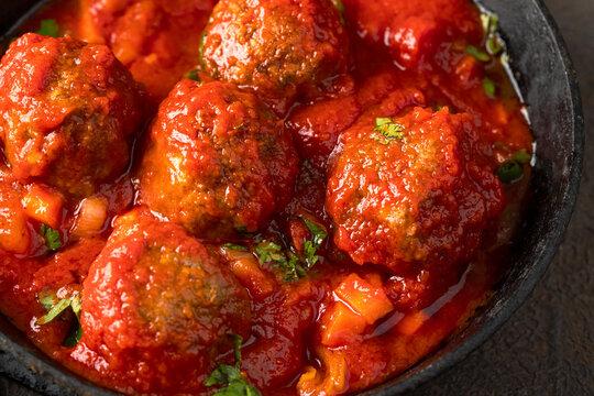 Meatballs in frying pan.Macro image for texture background.