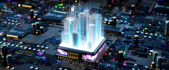Obraz Smart city concept. 3d rendering - fototapety do salonu