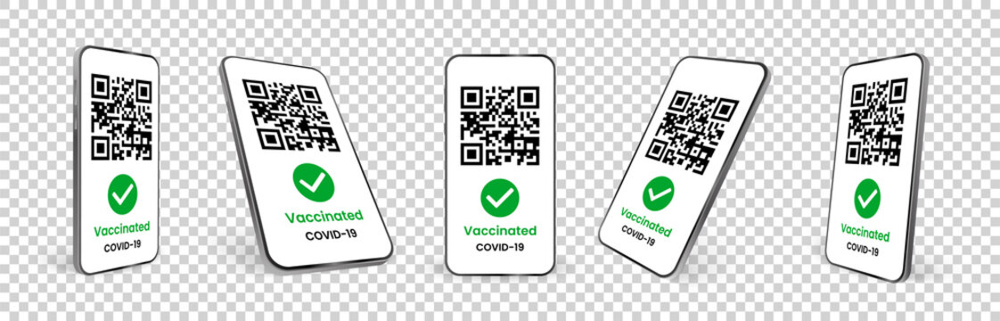 Set of realistic mobile phones with covid 19 vaccination certificates. App. Template for tourist electronic passports without coronavirus. Transparent background. Mockup. Isolated 3d vector