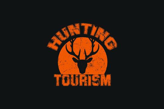 Hunting Tourism T-Shirt Design Vector, T-Shirt Design print template, Black tshirt