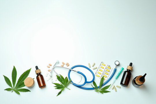 Medicinal cannabis concept on white background, space for text