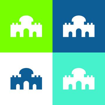 Alcala Gate Flat four color minimal icon set