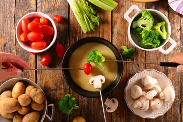 cheese fondue with fresh vegetables