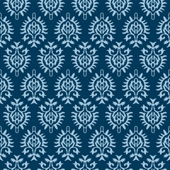 Japanese Indian Blue Flower Motif Vector Seamless Pattern